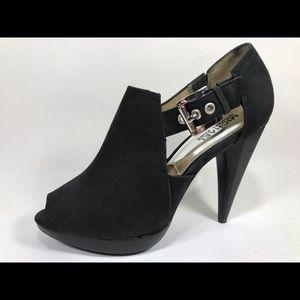 Michael Kors Black Leather Heels Women 7M Peep Toe
